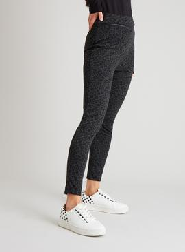 Grey & Black Leopard Print Leggings