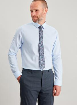 Blue Slim Fit Oxford Shirt & Floral Tie Set