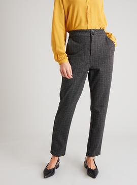 Grey & Black Herringbone Fleck Smart Trousers