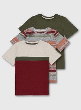 Block Stripe & Fleck Marl T-Shirt 3 Pack