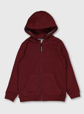Burgundy Zip-Through Hoodie