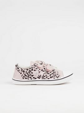 Pink Sparkly Animal Print Canvas Trainers