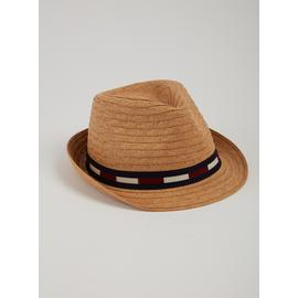 Dark Natural Straw Navy Stripe Band Trilby Hat