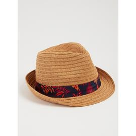 Dark Natural Straw Tropical Leaf Band Trilby Hat
