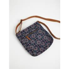 Navy Floral Canvas Cross Body Bag - One Size