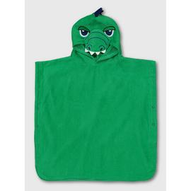 Green Crocodile Hooded Towel Poncho - One Size
