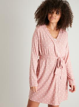 Pink & White Spotted Soft Knit Dressing Gown