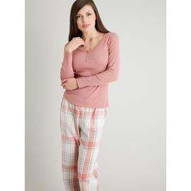 Rose Pink Check Henley Pyjamas