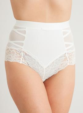 Secret Shaping Ivory Criss-Cross Lace Trim Knickers 2 Pack