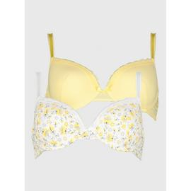 Yellow & White Floral Print Soft Touch Plunge Bra 2 Pack