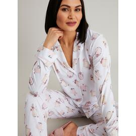 Cream Perfume Bottle Print Traditional Pyjamas