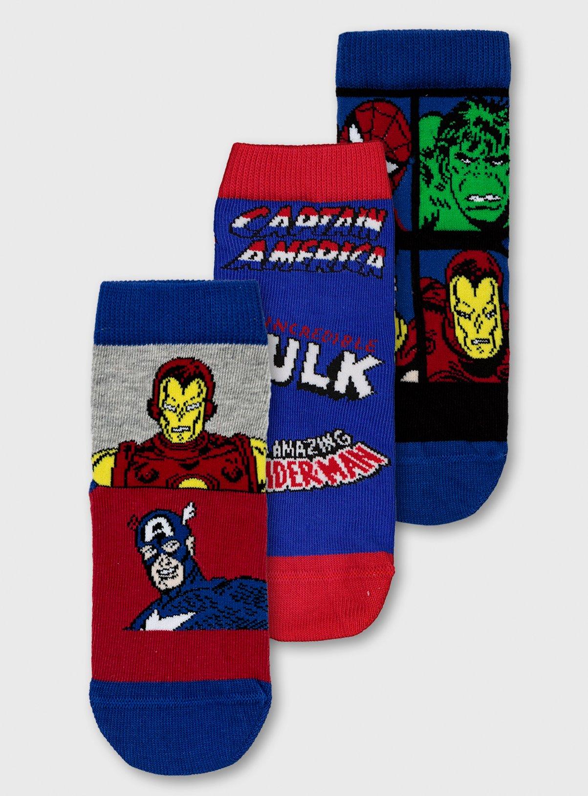 Multicoloured Marvel Boys Avengers Spiderman Superhero 3 Pack Ankle Socks Medium
