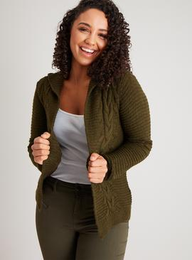 Khaki Ribbed Hooded Cable Cardigan