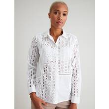 White Schiffli Lace Detail Shirt