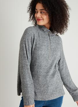 Charcoal Grey Half Zip Sweatshirt