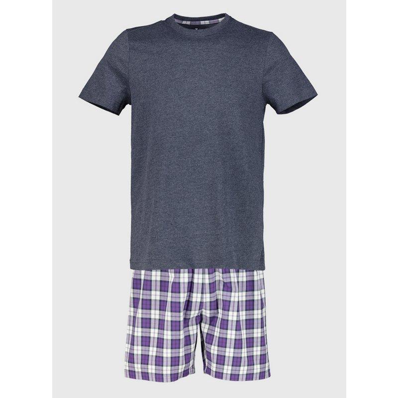 Navy & Purple Check Shortie Pyjamas from Argos