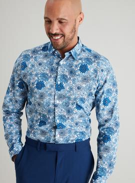 Blue Floral Print Slim Fit Shirt