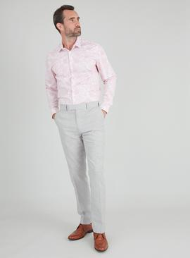 Pink Slim Fit Floral Print Shirt