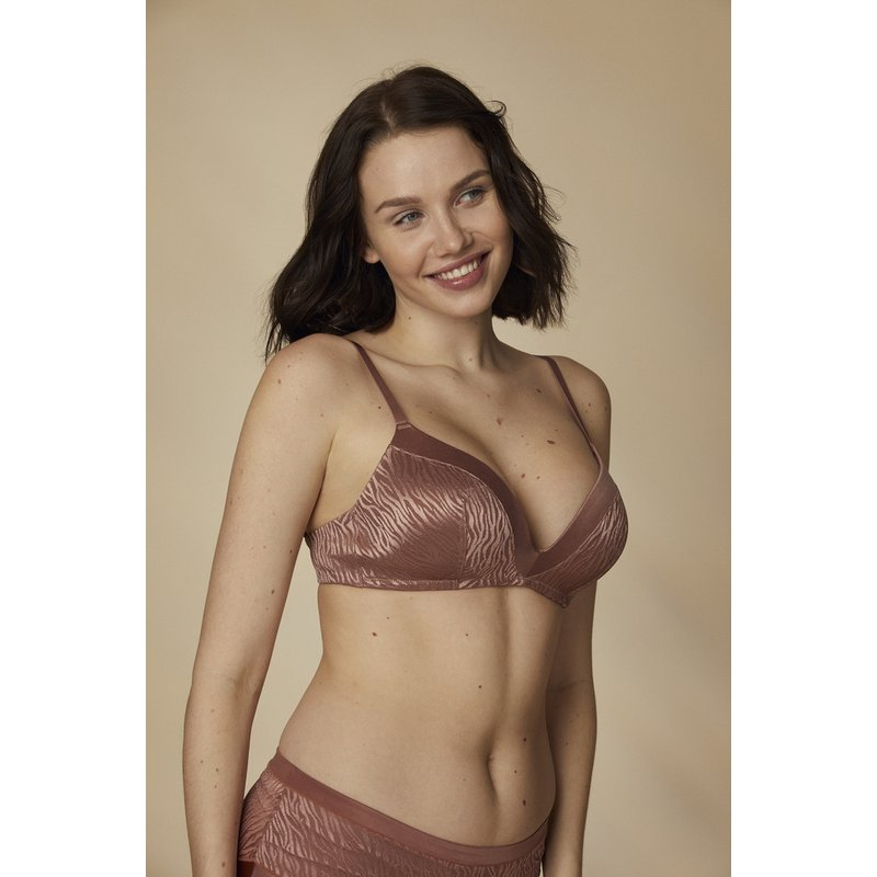 Russet Jacquard Zebra Non-Wired T-Shirt Bra from Argos
