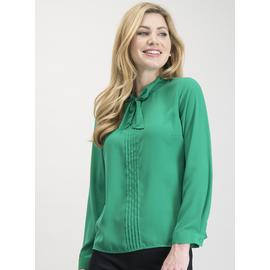 Pea Green Tie Neck Blouse