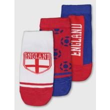 Red, White & Blue 'England' Trainer Socks 3 Pack