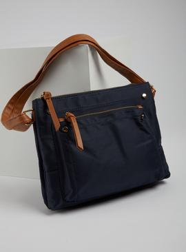 Navy & Tan Cross Body Bag - One Size