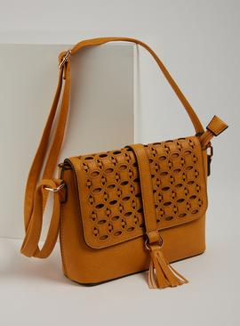 Ochre Yellow Faux Leather Cross Body Laser Cut Bag - One Siz