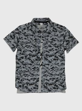 Grey & Black Camo Shirt & Dinosaur T-Shirt