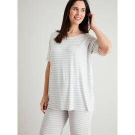 Maternity Grey Marl & White Stripe Pyjamas