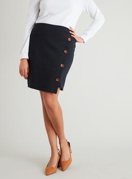 Navy & Brown Asymmetric Hem Button Detail Skirt