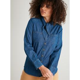 Denim Dixie Belle Neck Tie Chambray Western Shirt