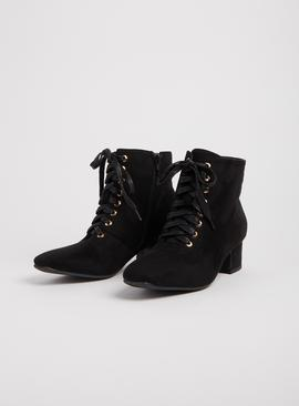 SPOT ON Black Lace Up Ankle Boots