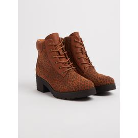SPOT ON Brown Animal Print Lace Up Boots