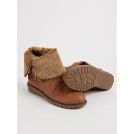 SPOT ON Tan Ruched Faux Fur Cuff Ankle Boots