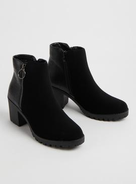 SPOT ON Black Ring Pull Heeled Mock-Croc Boots