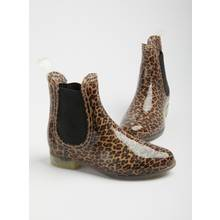 SPOT ON Leopard Print Chelsea Welly Boot