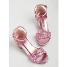 SPOT ON Pink Glitter Open Toe Heels