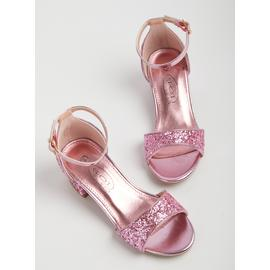 SPOT ON Pink Glitter Open Toe Heels