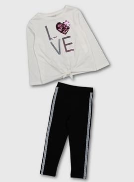 White & Black Heart Top & Leggings