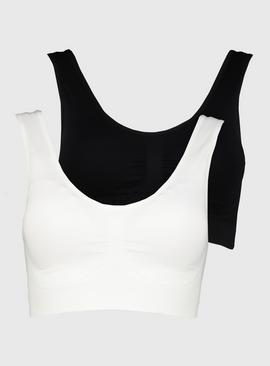 White & Black Seamless Stretch Crop Tops 2 Pack