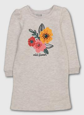 Oatmeal Marl 'Wild Flowers' Sweatshirt Dress