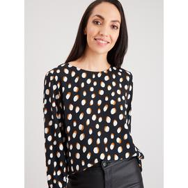 Monochrome Spot Round Neck Blouse