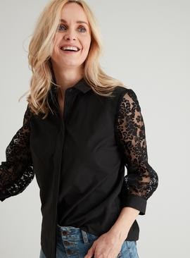 Black Floral Organza Sleeve Shirt