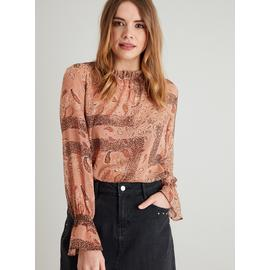 Multicoloured Paisley Print High-Neck Blouse