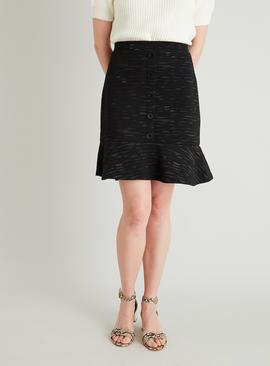 Black Textured Button Detail Flippy Skirt