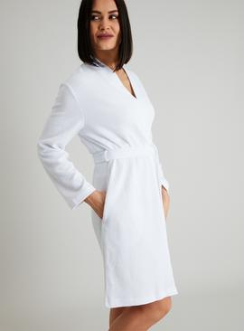 White Waffle Robe With Cotton