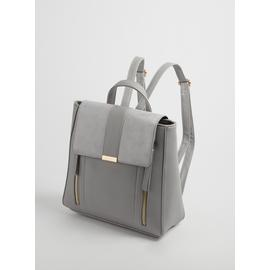 Grey Mix Fabric Faux Leather Backpack - One Size