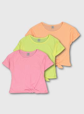 Bright Ribbed Tie Front T-Shirt 3 Pack