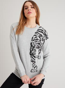 Grey Sequin Tiger Sweatshirt