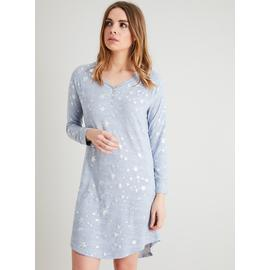 Light Blue & Silver Star Foil Print Nightshirt